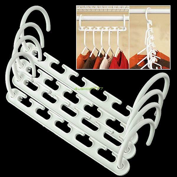 WITUSE 4x Vertical/Horizontal Magic Closet Organizer Plastic Wonder Clothes  Rack Hanger EQ0630