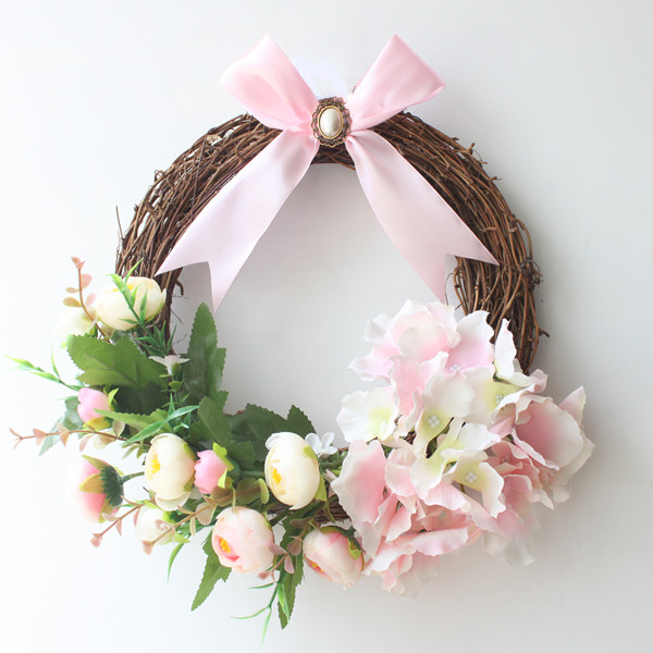 Awesome 1pc Decorative Hydrangea Wreath For Front Door Handcrafted All Season Wreath  For Spring,Summer, Fall And Winter Free Shipping