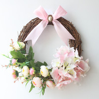 1pc Decorative Hydrangea Wreath for Front Door Handcrafted All Season Wreath for Spring,Summer, Fall and Winter Free Shipping