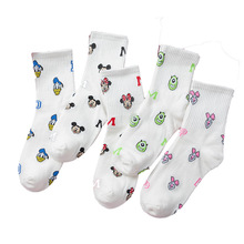 2019 Korean women Mickey Head Print Lady Cartoon Socks Cotton Breathable Sweat Girls Socks 1pair=2pcs Cartoon Mouse