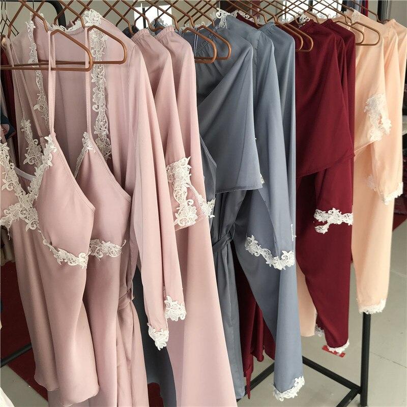 2019 Silk Pajama Set Sleeping Suit Women Sleepwear For Girl Sleep ... b7924239e