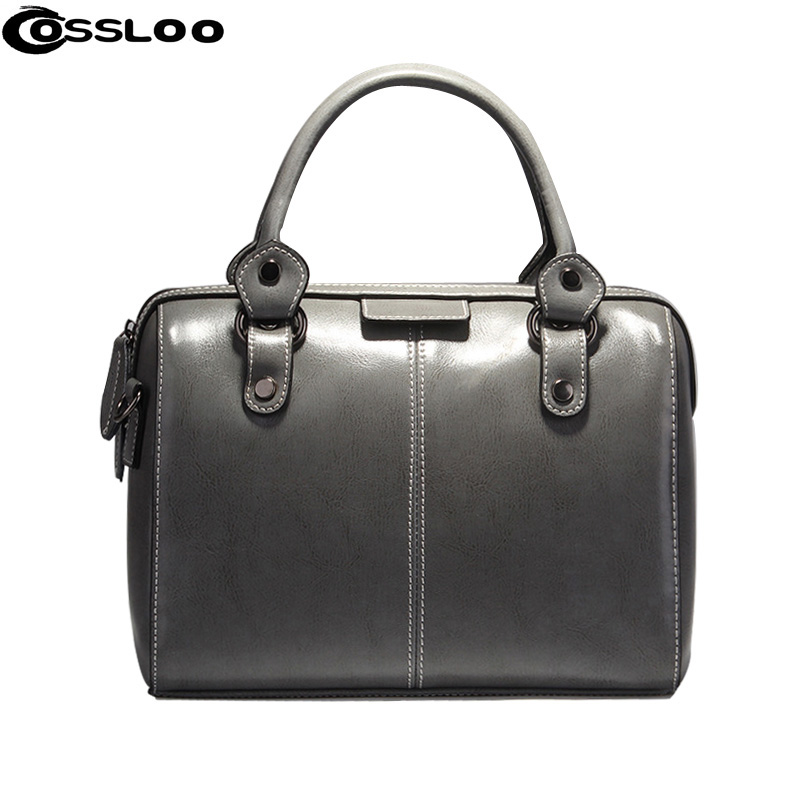 COSSLOO 2017 Real Cow Leather Ladies Hand Bags Women Genuine Leather Handbag Shoulder Bag Pillow Designer Luxury Brand Bag yuanyu 2018 new hot free shipping real python leather women clutch women hand caught bag women bag long snake women day clutches