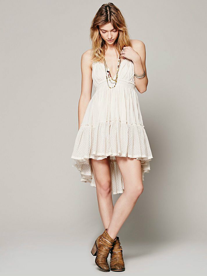 Backless Beach Lace Strapless Short Pleated Cute Dress 3