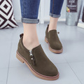 2017 Korean Spring Women Shoes Solid Brown Black Round Single Ladies Shoes Woman Flats Oxfords Casual Zipper Shoes Zapatos Mujer