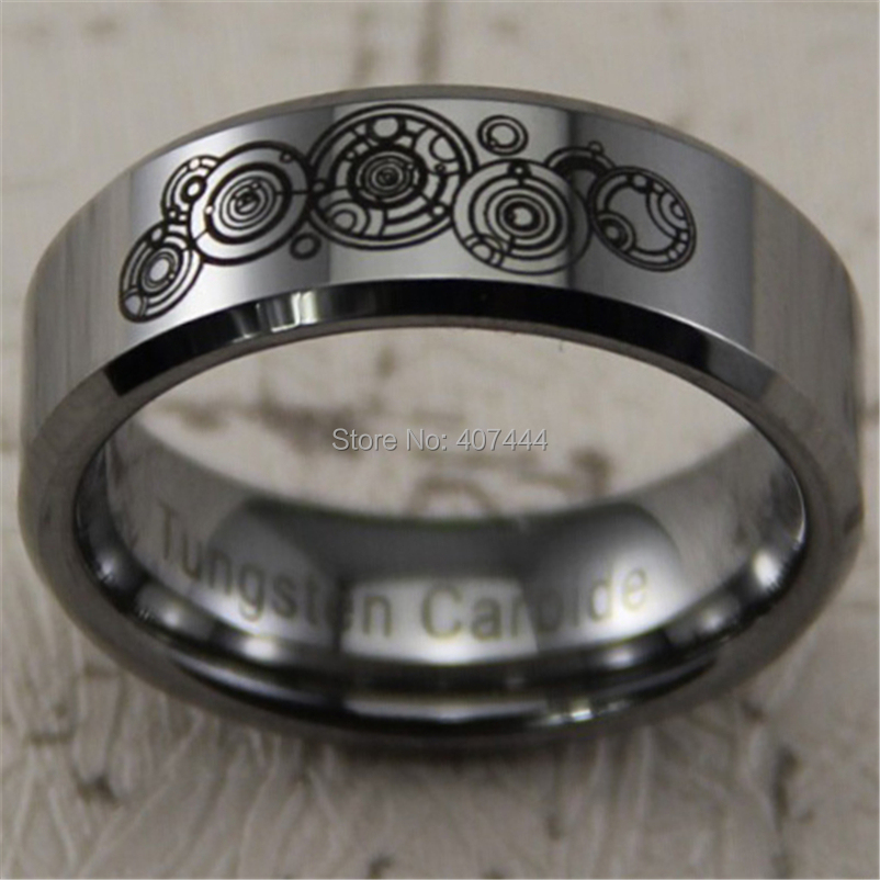 free shipping ygk jewelry hot sales 8mm silver beveled doctor who time new mens comfort tungsten wedding ring in rings from jewelry accessories on - Doctor Who Wedding Ring