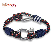 Chain Bracelet Cord Survival-Rope Nautical Navy-Blue MKENDN Summer-Style Women New-Fashion