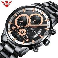 Nibosi relógios masculinos de luxo da marca superior cronógrafo masculino relógios esportivos à prova dwaterproof água aço completo relógio de quartzo masculino|Relógios de quartzo|   -