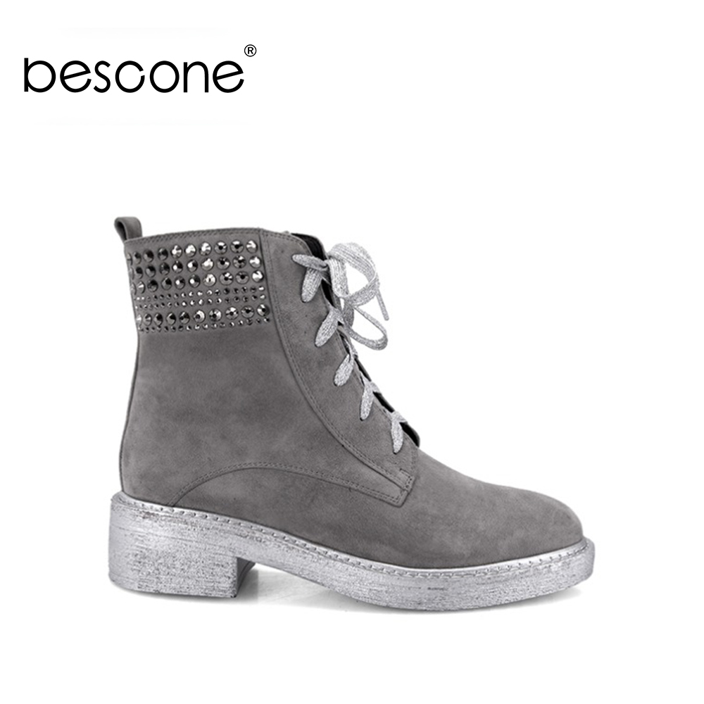 BESCONE Ankle Boots Retro Round Toe Quality Kid Suede Casual Shoes Fashion 2018 Crystal Design Short Plush Winter Lady Shoes M19BESCONE Ankle Boots Retro Round Toe Quality Kid Suede Casual Shoes Fashion 2018 Crystal Design Short Plush Winter Lady Shoes M19
