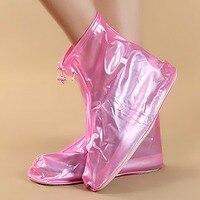 Fashion Pink Women Men Zippered Thicken Rainproof Nonslip Wear Resistant Reusable Rain Boots Protector For Flat
