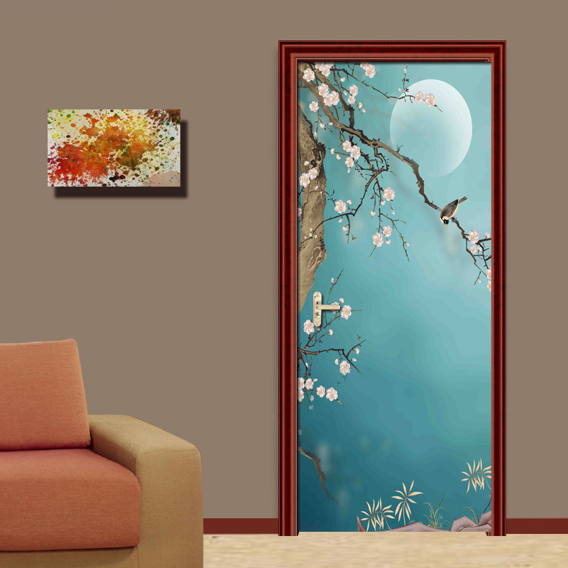 PVC Waterproof Self Adhesive 3D Door Stickers Living Room