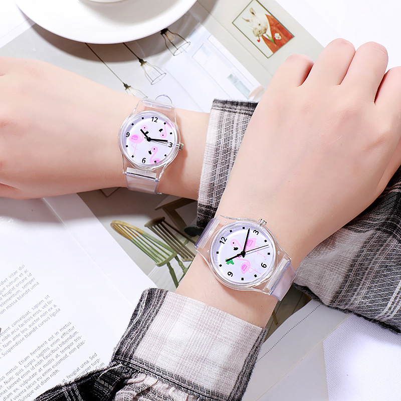 2019 New Temperament Casual Student Watch Children Cartoon Flamingo Pattern Girl Heart Jelly Color Silicone Watch