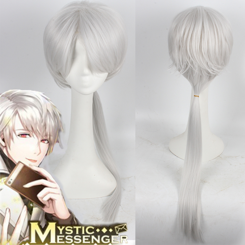 New Arrival Game Mystic Messenger Zen Heat Resistant Silver Cosplay Wig Long Ponytail COS Hair Free Shipping-in Synthetic Wigs from Hair Extensions & Wigs ...