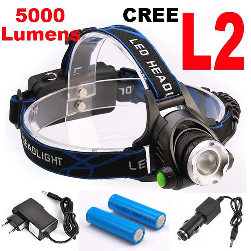 Super bright 5000LM 12 W CREE XML-L2 LED Del Faro LED Del Faro 18650 torcia head light led lampada X900 Torcia Della Torcia Elettrica