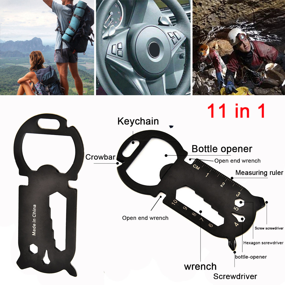 11 In 1 Multi-Function EDC Tool Card Creative Bottle Opener Keychain Twist Bottle Opener, All in One Jar Gripper Can Wine Beer 6(China)