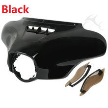 Black/Chrome Front Outer Fairing W/ Air Deflector Fit For Harley Electra Street Glide Ultra 14-17 Touring Glide Motorcycle motorcycle accessories front inner accent fairing buffer cushion pad harley electra street glide ultra custom