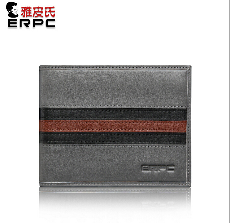 цена  Men Genuine Real Leather Short  Wallet , Billfold Purse in Gray Blocked Color Standard Simple Design High Quality  онлайн в 2017 году