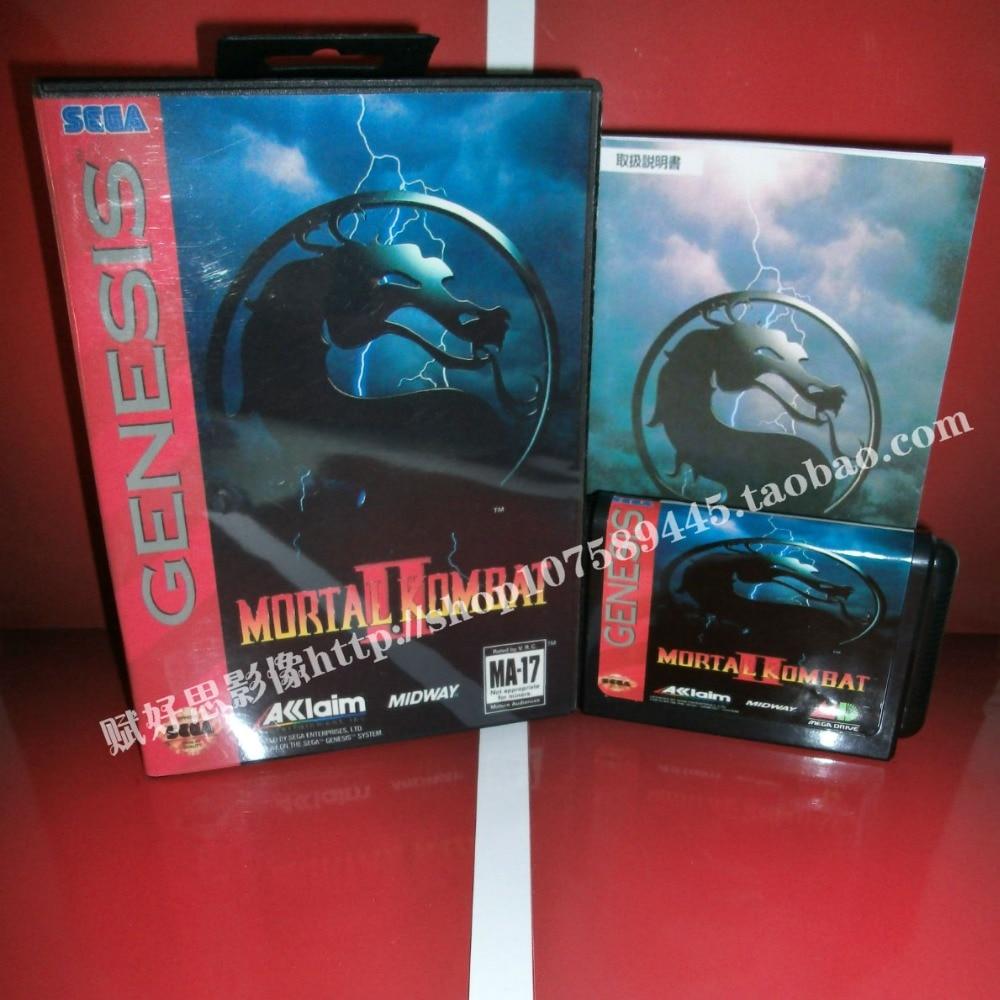 Mortal Kombat 2 Game cartridge with Box and Manual 16 bit MD card for Sega Mega Drive for Genesis
