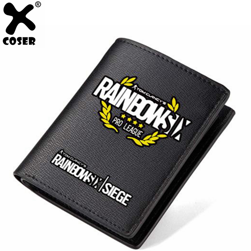 XCOSER Rainbow Six Wallet for Daily Life Black PU Material Japanese Anime Brand Sale Cosplay Accessory Festival Gif For Mens