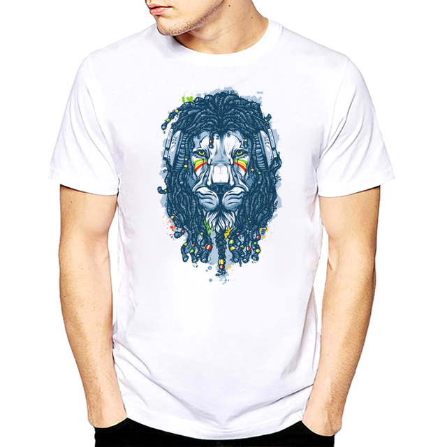 T-shirt Do Leão Rasta Rastafari Judá Jamaica O-Neck Manga Curta Tee Moda 60ee0c8d4c9