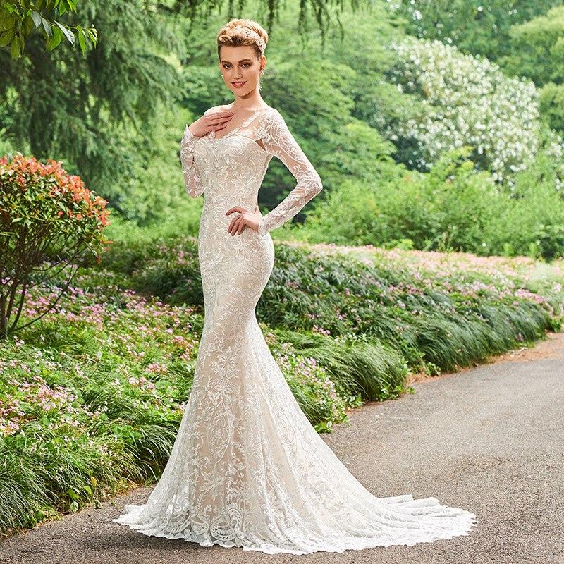 Dressv V Neck Γοργόνα Φόρεμα Γάμου Μακρύ - Γαμήλια φορέματα - Φωτογραφία 2