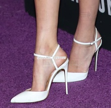 Top Brand White Black Pink Pointed Toe Pumps Patent Leather Shallow Dress Shoes Thin High Heel Women Buckle Strap