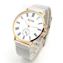 Fashion Kevin Beautiful Pattern Stainless Sttel Case Mesh Band Strap Pin Buckle Quartz Wrist Watch Women Men Girl Boy