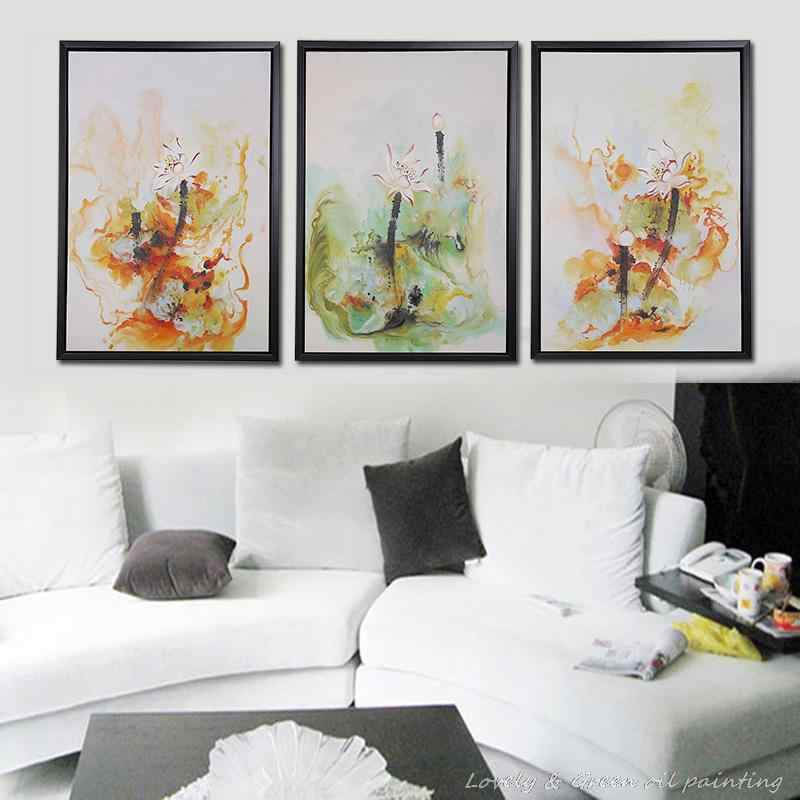 3 Pcs Free Shipping Hot Sell Modern Wall Painting Lotus Flower Scenery Home Decorative Art Picture Paint on Canvas Hand-painted