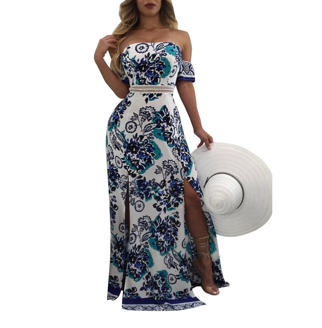 Fashion Women Casual Cocktail Party Summer Print Short Sleeve Maxi Floral Dress