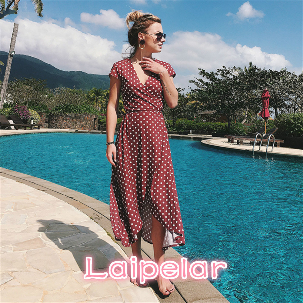 Laipelar Women Boho Maxi Split Dress 2018 V-Neck Bohemia Long Dresses High Quality Brand Vintage Beach dresses