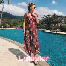 Laipelar Women Boho Maxi Split Dress 2018 V-Neck Bohemia Long Dresses High Quality Brand Vintage Beach dresses
