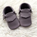 Light Grey Genuine Leather Handmade Baby Moccasins