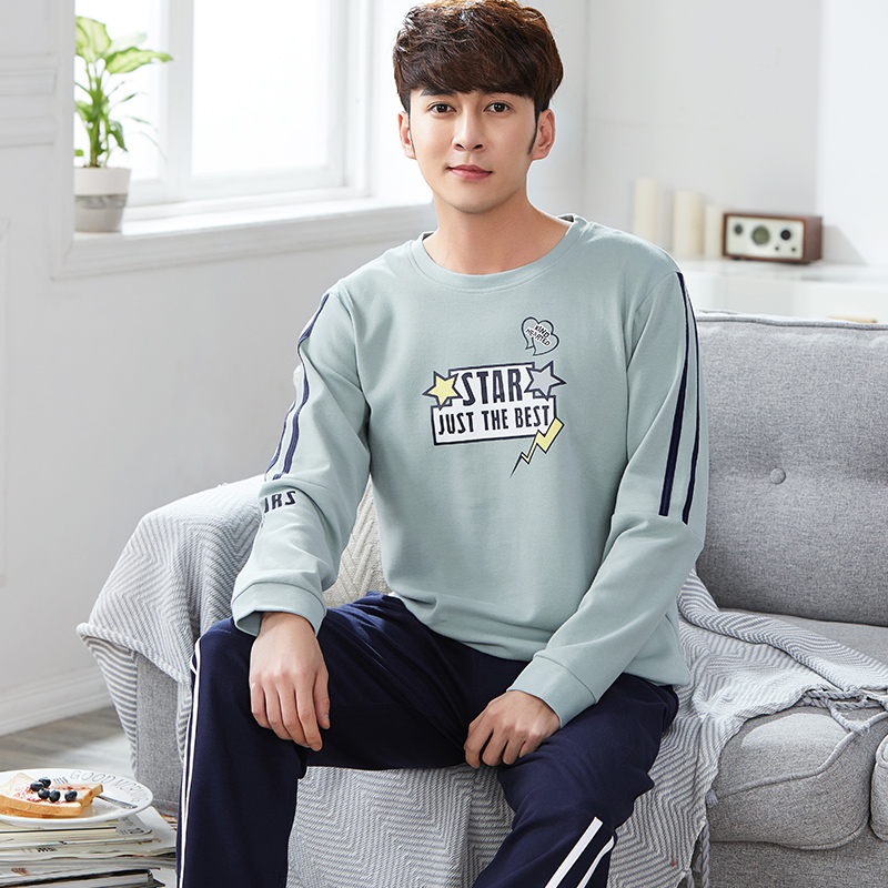 High Qaulity Spring And Autumn 100% Cotton Mens Pajamas Set Long Sleeve Round Neck Letter Pattern Leisure Male Sleepwear L-XXXL