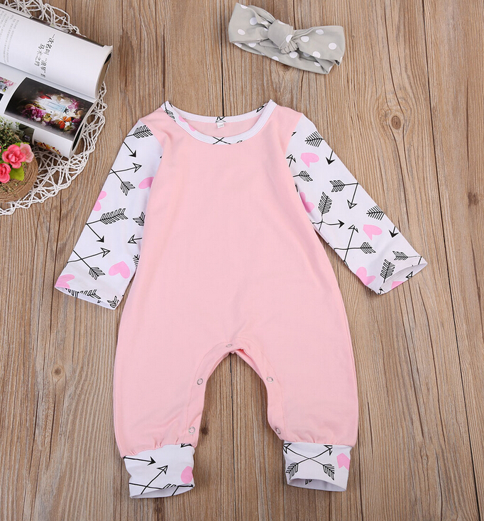 New Autumn Spring Kids Rompers Newborn Baby Girls Long Sleeve Cotton Romper Headband Outfit Set Clothes Baby Girls Clothing baby boys girls clothes newborn rompers carton infant cotton long sleeve jumpsuits kids spring autumn clothing jumpsuit romper
