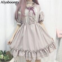 """Женское милое платье японского стиля""""лолита"""",симпатичное платье с оборками,бантом и кружевом,каваий летнее платье для невысоких девушек"""