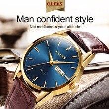 цены OLEVS 2018 Fashion Quartz Watch Men Watches Top Brand Luxury Leather Male Clock Business Mens Wrist watch Relogio masculino saat