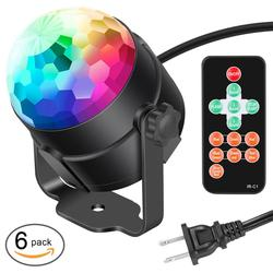 Neewer Mini LED Photo Light Sound Activated Party Light +Remote Control RGB 7 Colors Strobe Light Disco Ball DJ Light(6 packs)