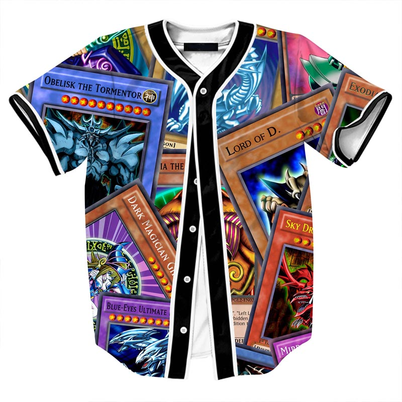 ONSEME Newest Anime Characters 3D T Shirt Dragon Ball Z and Duel Monsters Printed Open Stitch Baseball Jersey Hip Hop Tops Tees