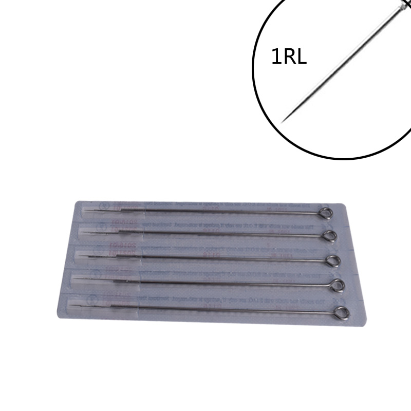 Hot 15 Pcs Disposable Stainless Steel SterileTattoo Needle Set 1RL Eyebrow Embroidery  Permanent Makeup Freeshipping
