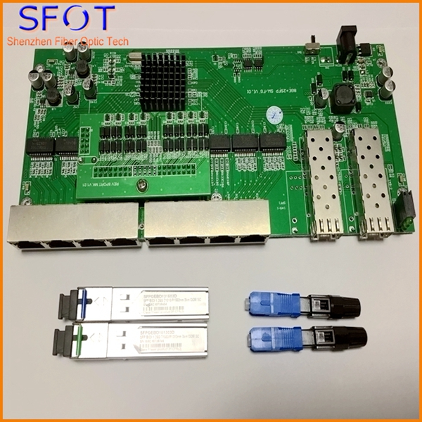 POE reverse Switch board kit, not manageable, with 2pcs SC 3KM SFPs and 2pcs SC/UPC fast connectors, Vlan on/off