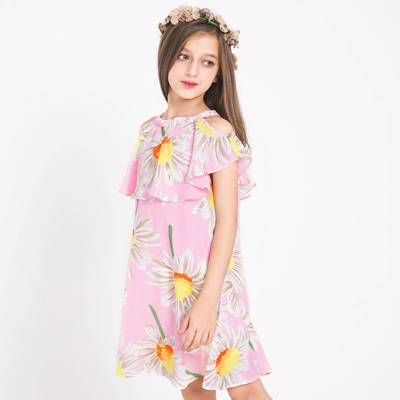 2017 Summer Girls Bohemia Princess Dress Teens Girl Party Flower Dress Boho Sundress Summer Beach Dress 8 9 10 11 12 13 14 Years