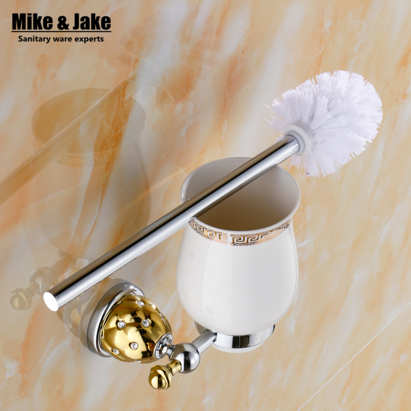 Luxury chrome golden finish toilet brush holder with Ceramic cup household products bath decoration bathroom accessoriesMC63738
