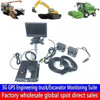 Drahtlose netzwerk 4 kanal fernbedienung video überwachung dual SD karte aufnahme 3G GPS engineering fahrzeug überwachung kit Authentische-in Auto-Multi-Angle-Kamera aus Kraftfahrzeuge und Motorräder bei