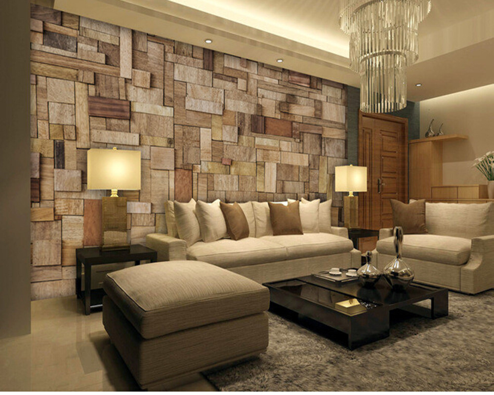 Custom old wooden wall paper wood grain mural for the