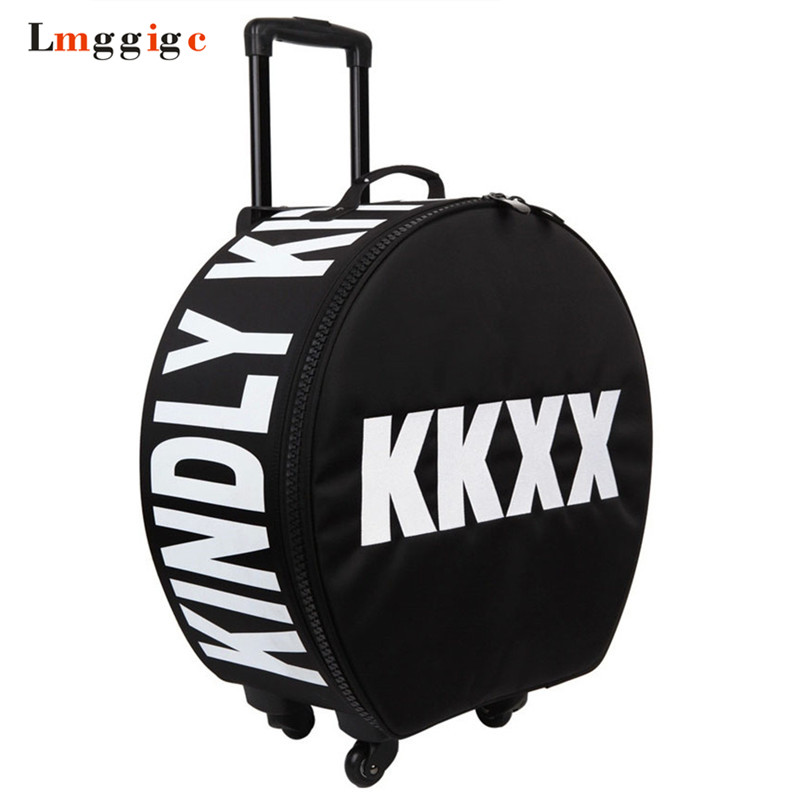 Women s Rolling Travel Luggage Suitcase bag,Waterproof Oxford cloth Box with Wheel , Men Personality Circular Trolley case