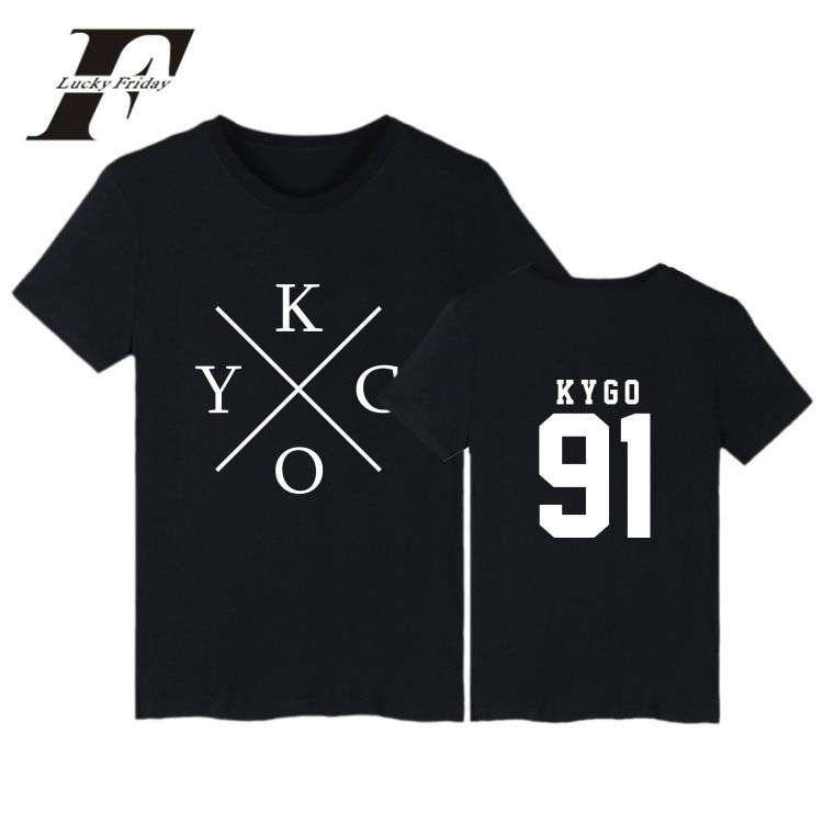 LUCKYFRIDAYF 2017 DJ Kygo Logo Fans Club Cotton T-shirt Men Short Sleeve Hip Hop Print Casual Tee Shirt Homme