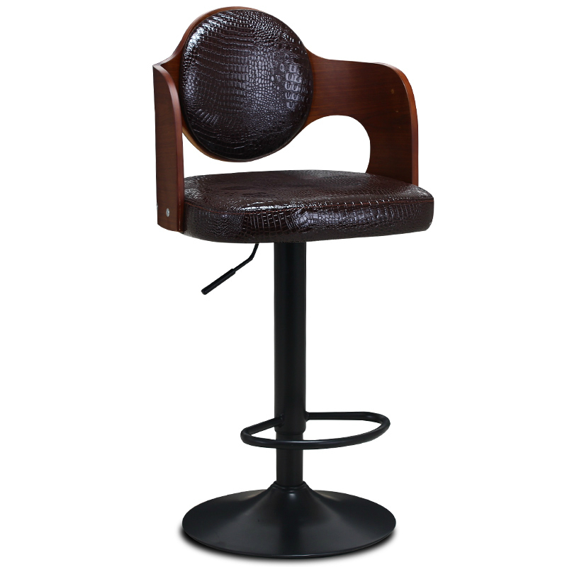 Multi-function Lifted Bar Chair Wooden Backrest Rotated Retro Commercial High Stool with Footrest Household Stable