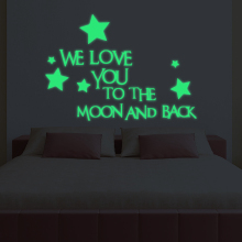 Super Bright Home Decoration Luminous DIY wall  Sticker We Love You To The Moon And Back Beding Room Fluorescent