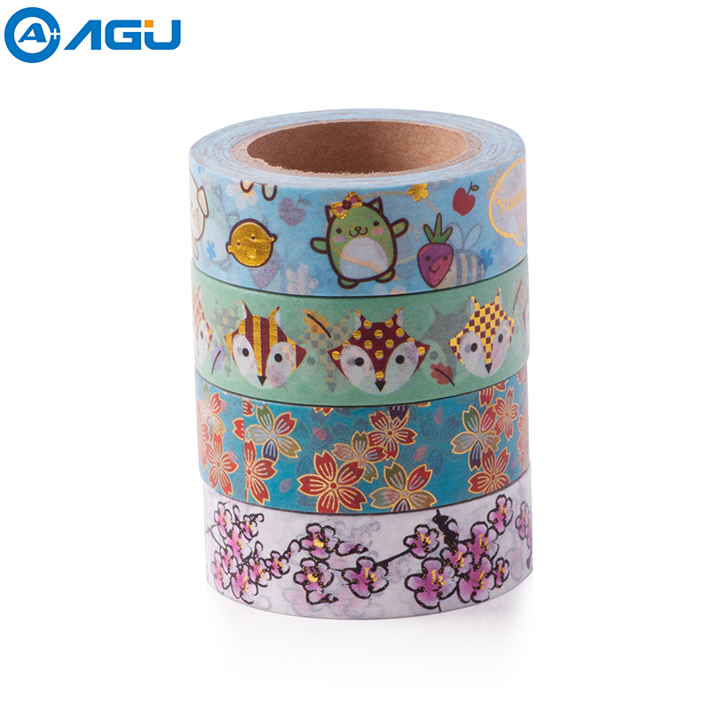 AAGU 1PC 15mm*10m Foil Washi Tape Scrapbooking Tools Cute Decorative Adhesive Japanese Stationery Washi Tapes Masking Tape 1pc black and white grid washi tape japanese paper diy planner masking tape adhesive tapes stickers decorative stationery tapes