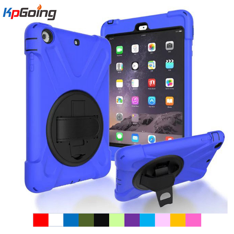 For iPad mini 1/2/3 Retina Kids Baby Safe Armor Shockproof Heavy Duty Silicone Hard Kickstand Case Cover For Apple iPad Mini