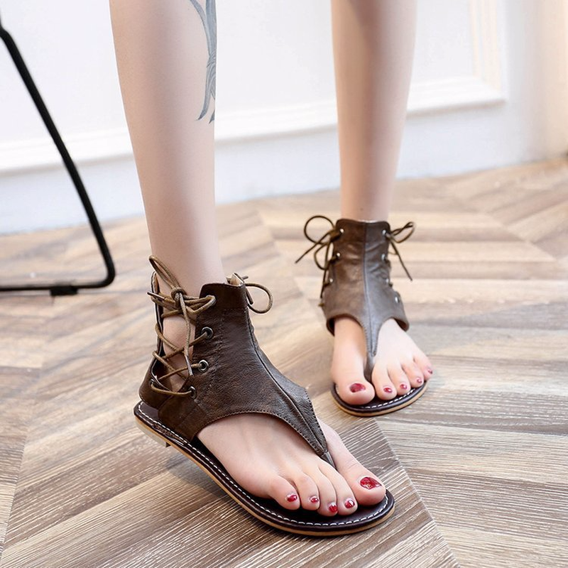 Cremulen Leather Women Sandals Hot Sale Fashion Summer beach Sweet Flats Heel Ladies Shoes Black Party equipment